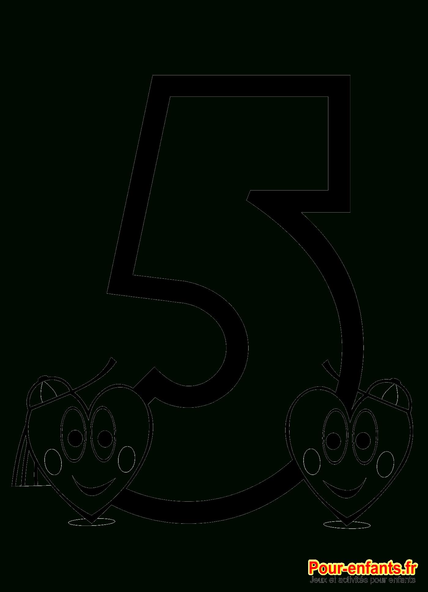 Coloriage Chiffre 5 À Imprimer Nombre 5 Apprendre Chiffres dedans Chiffre Pour Enfant