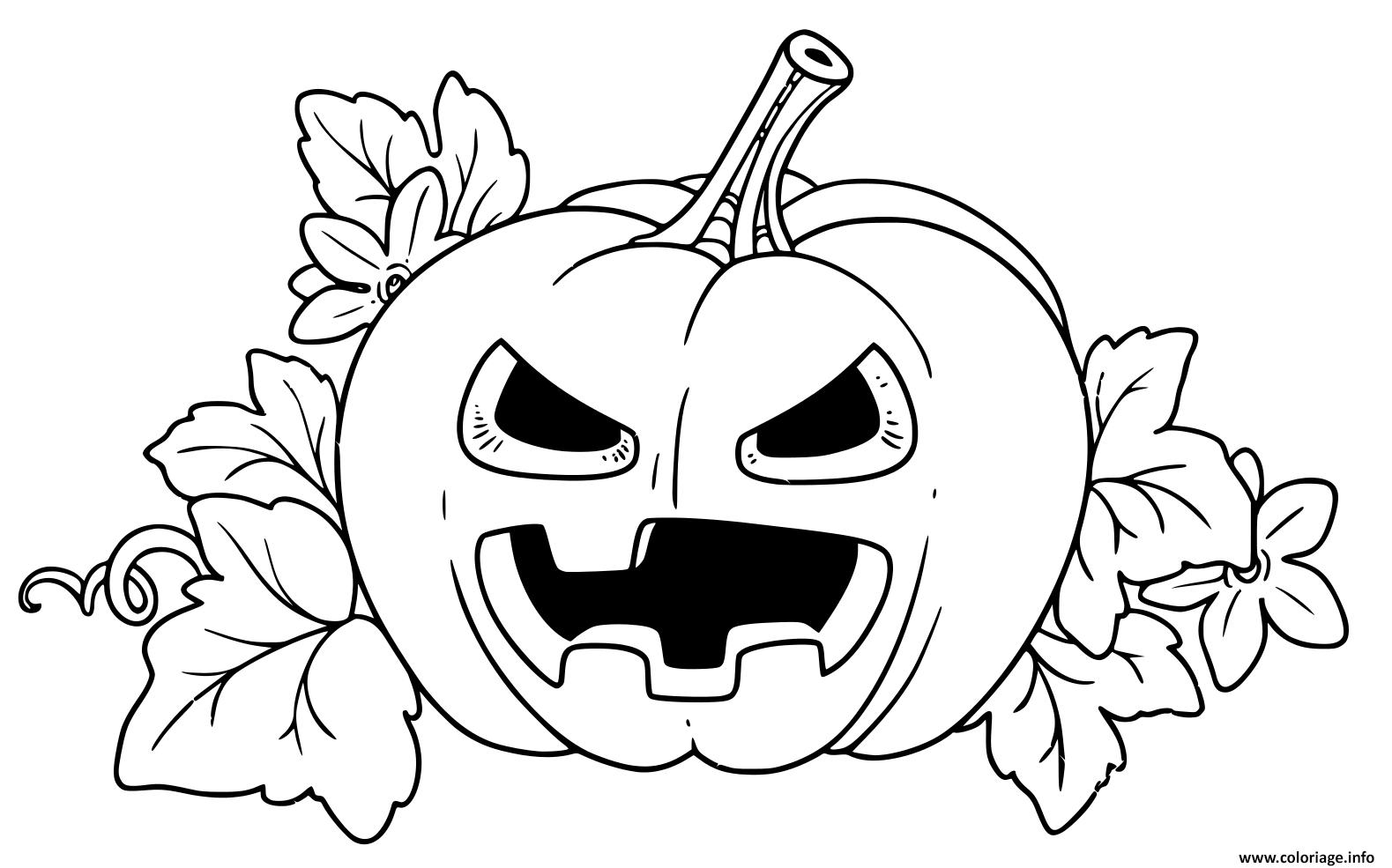 Coloriage Citrouille Halloween Fachee Couleur Jaune Dessin à Dessin Halloween Citrouille A Imprimer Gratuit