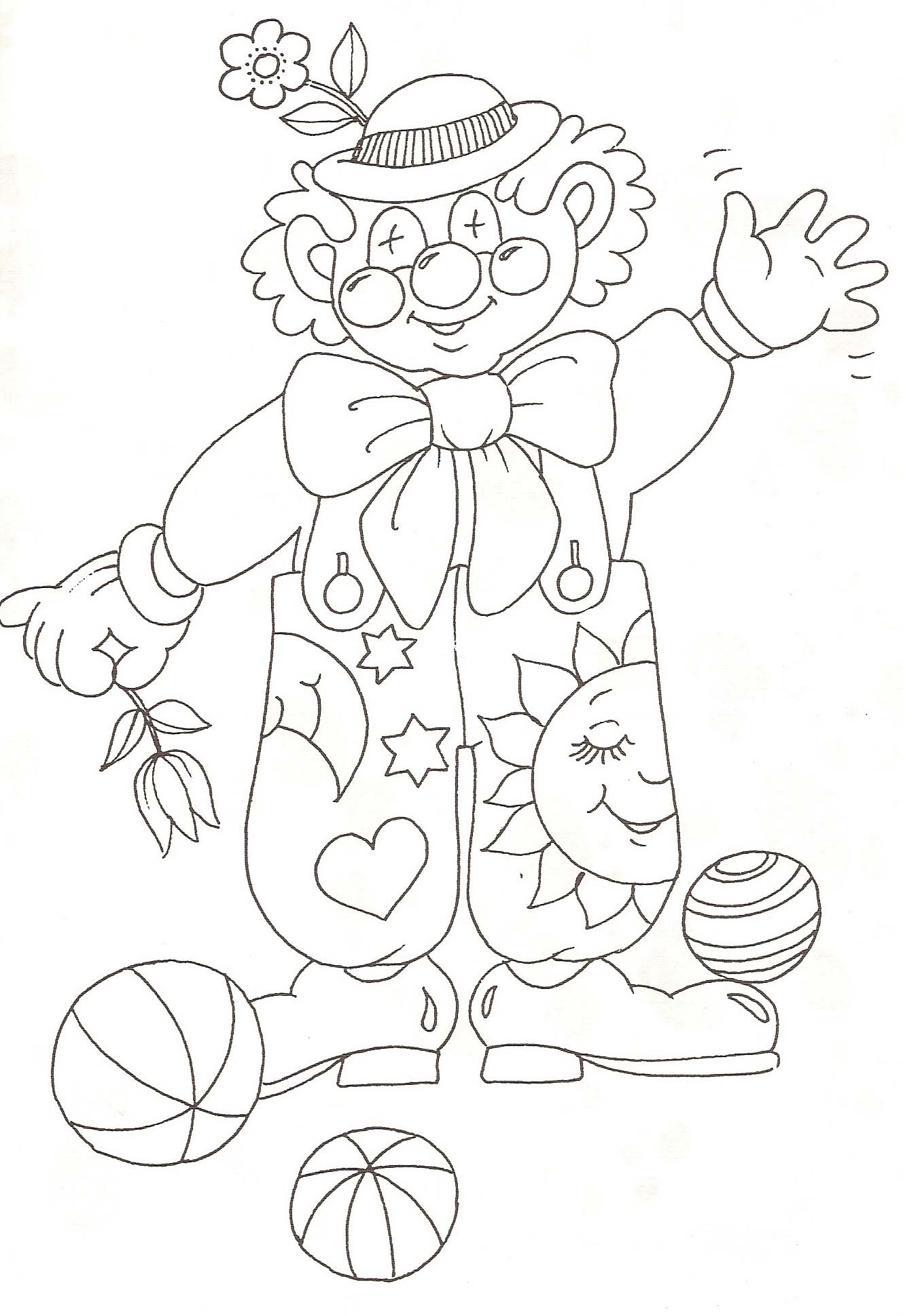 Coloriage Clown Fleuri à Coloriage Clown A Imprimer