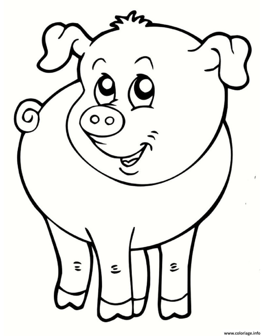 Coloriage Cochon Souriant Animal De La Ferme Dessin serapportantà Dessin À Colorier Cochon