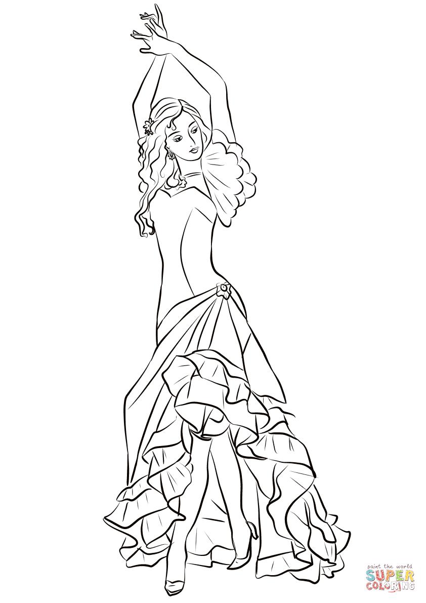 Coloriage - Danseuse De Flamenco | Coloriages À Imprimer encequiconcerne Dessin De Danseuse A Imprimer
