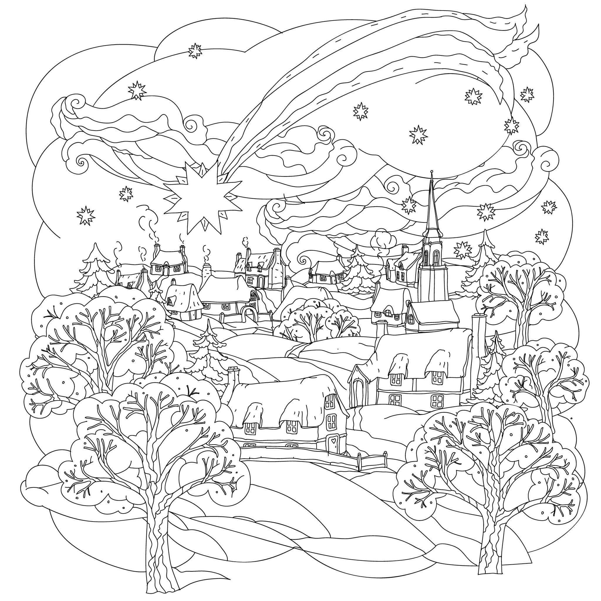 Coloriage De Noël À Colorier Pour Enfants - Coloriages De pour Coloriage Village De Noel