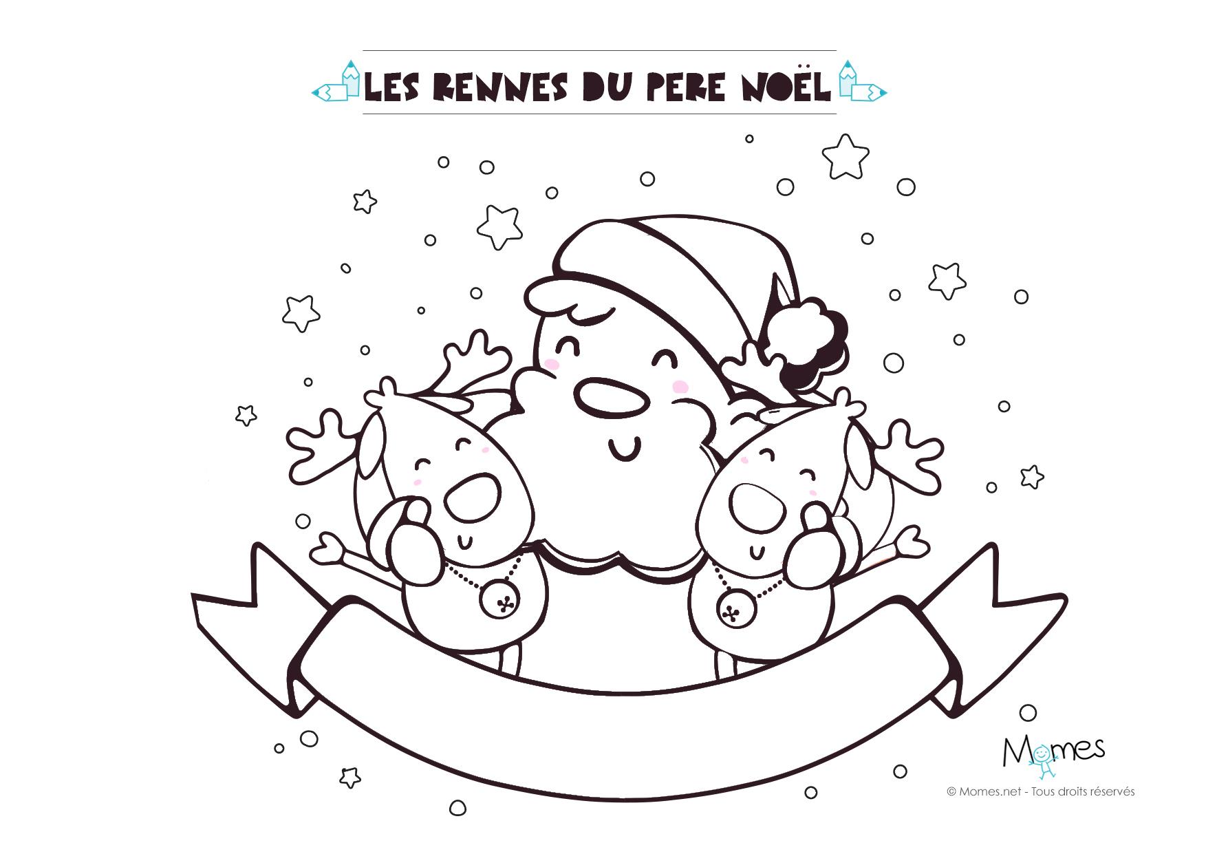 Coloriage De Noël : Le Père Noël Et Ses Rennes - Momes intérieur Pere Noel À Colorier Et Imprimer