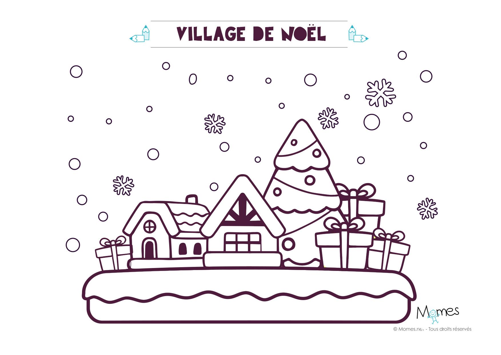 Coloriage De Noël : Le Village - Momes destiné Coloriage Village De Noel