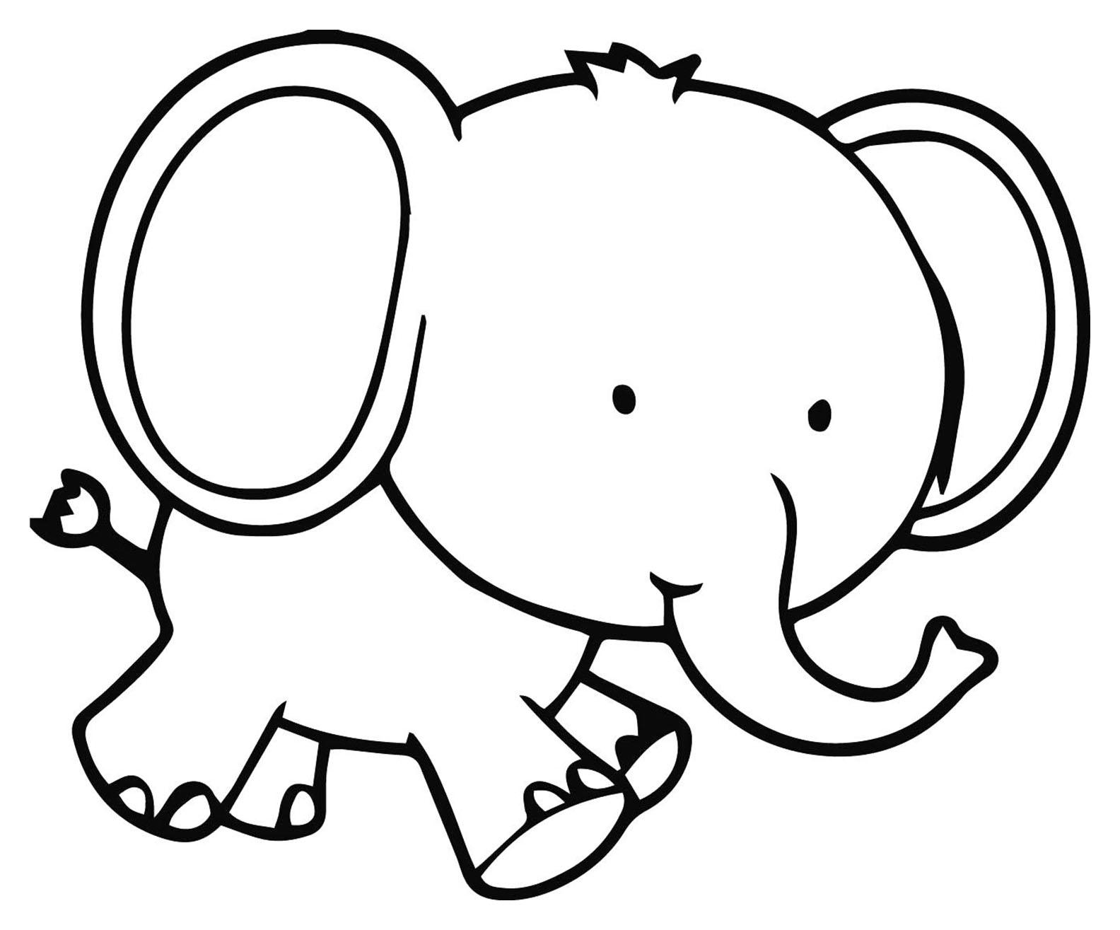 Coloriage D'éléphant À Imprimer - Coloriage D'éléphants à Dessin Facile Pour Enfant