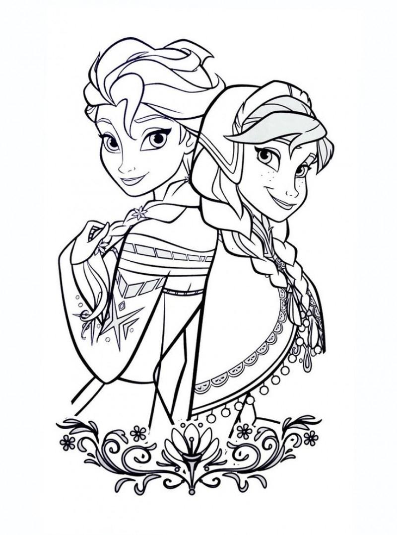 Coloriage D'elsa Et Anna De La Reine Des Neiges avec Reine Des Neiges Dessin À Colorier