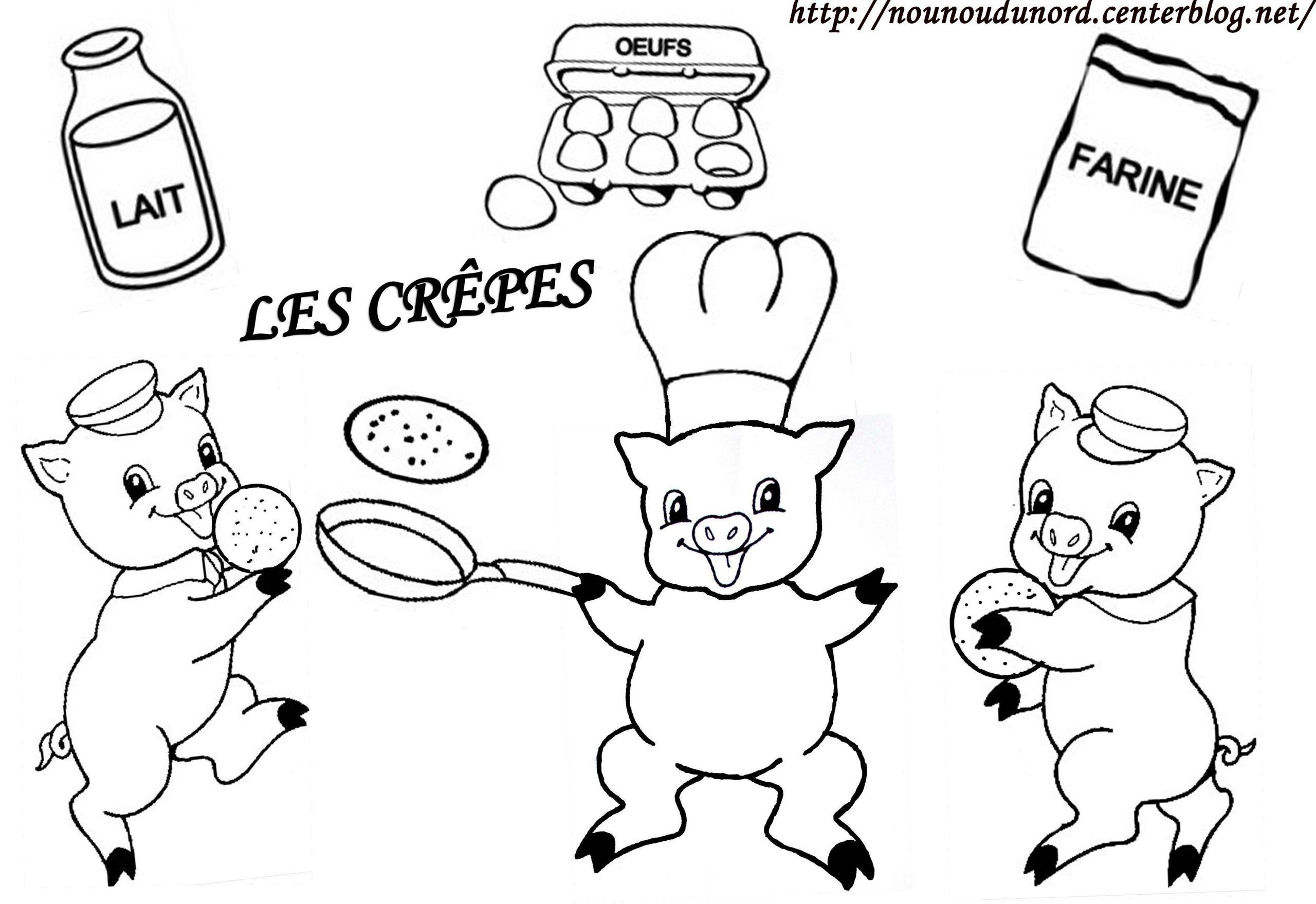 Coloriage Des 3 Petits Cochons Qui Font Des Crepes dedans Dessin À Colorier Cochon