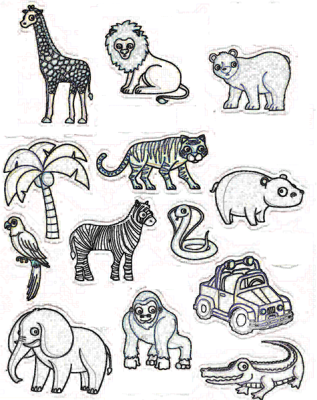 Coloriage Des Animaux De La Jungle Africaine - Afrocaneo à Animaux De La Jungle Maternelle