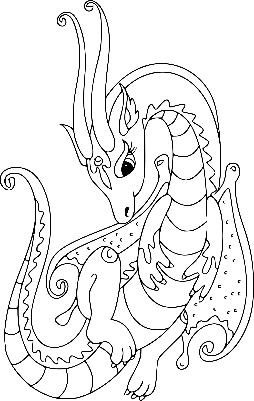 Coloriage Dragon Pour Fille À Imprimer pour Coloriage Gratuit À Imprimer Pour Fille
