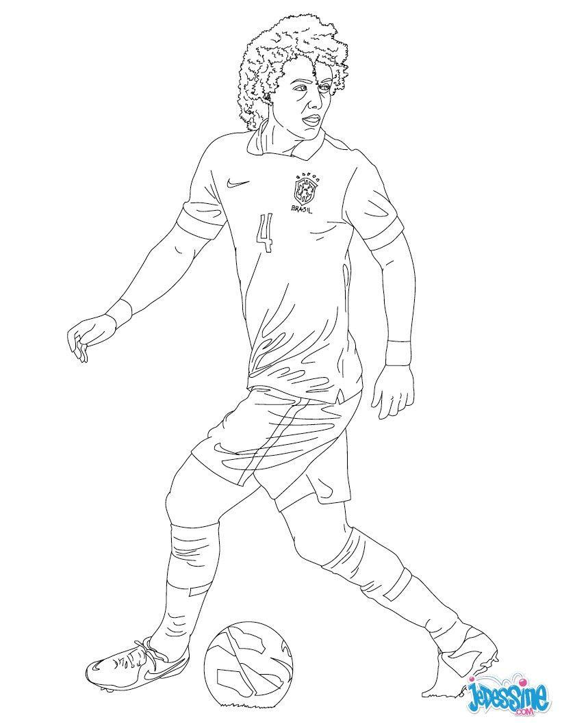 Coloriage Du Joueur De Foot David Luiz. À Imprimer pour Coloriage De Foot En Ligne