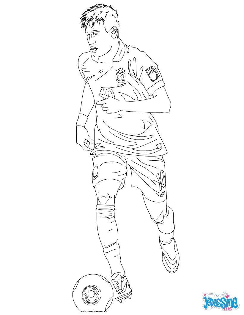 Coloriage Du Joueur De Foot Neymar. À Imprimer Gratuitement pour Coloriage De Foot En Ligne