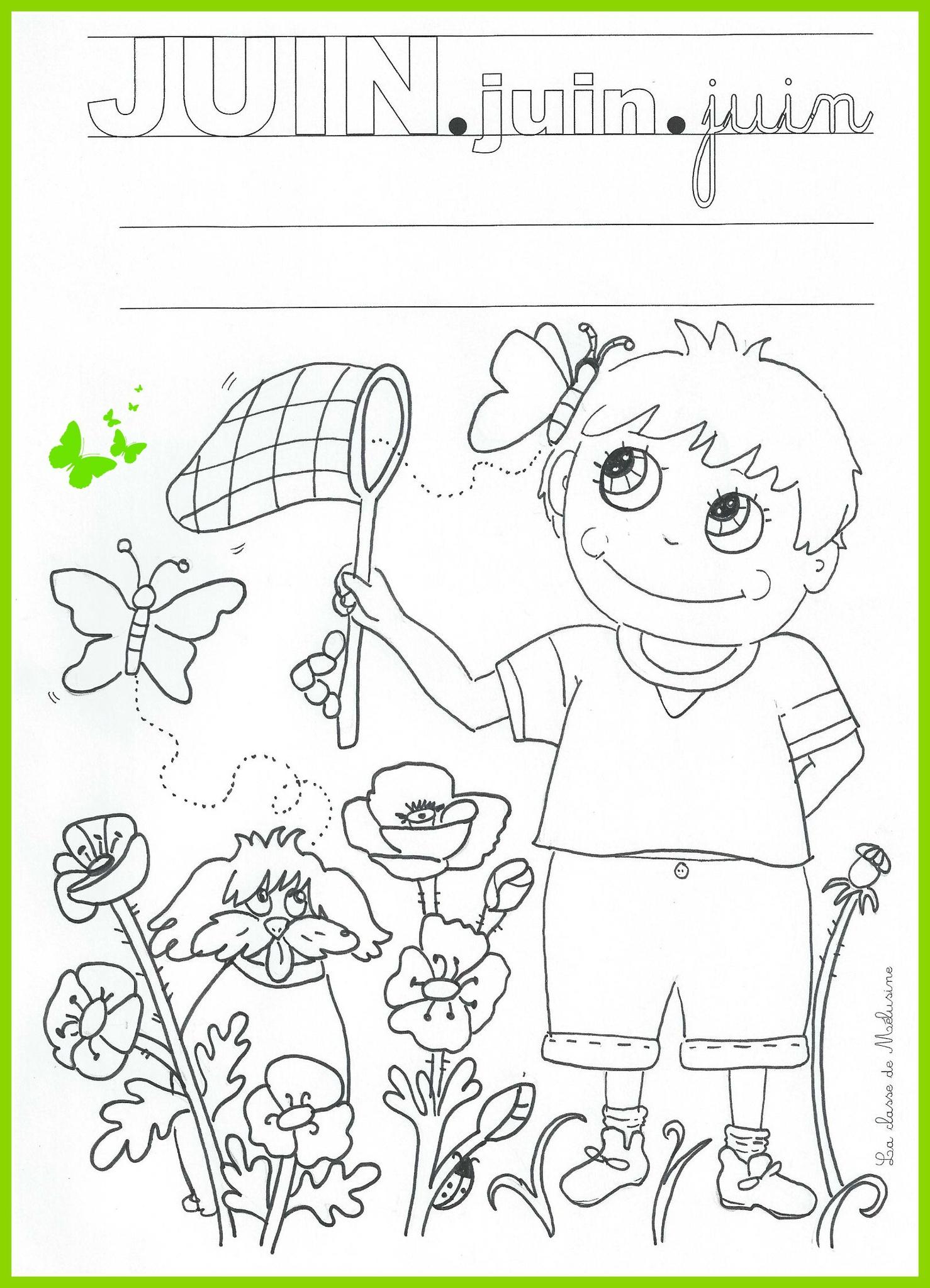 Coloriage Du Mois De Juin - La Classe De Mélusine tout Coloriage Classe Maternelle