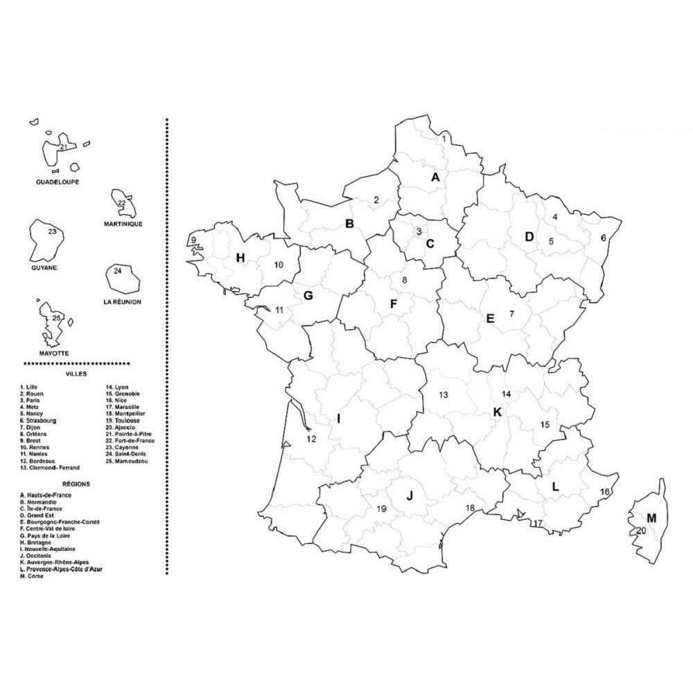 Coloriage Géant Carte De La France - Lot De 5 encequiconcerne Coloriage Carte De France