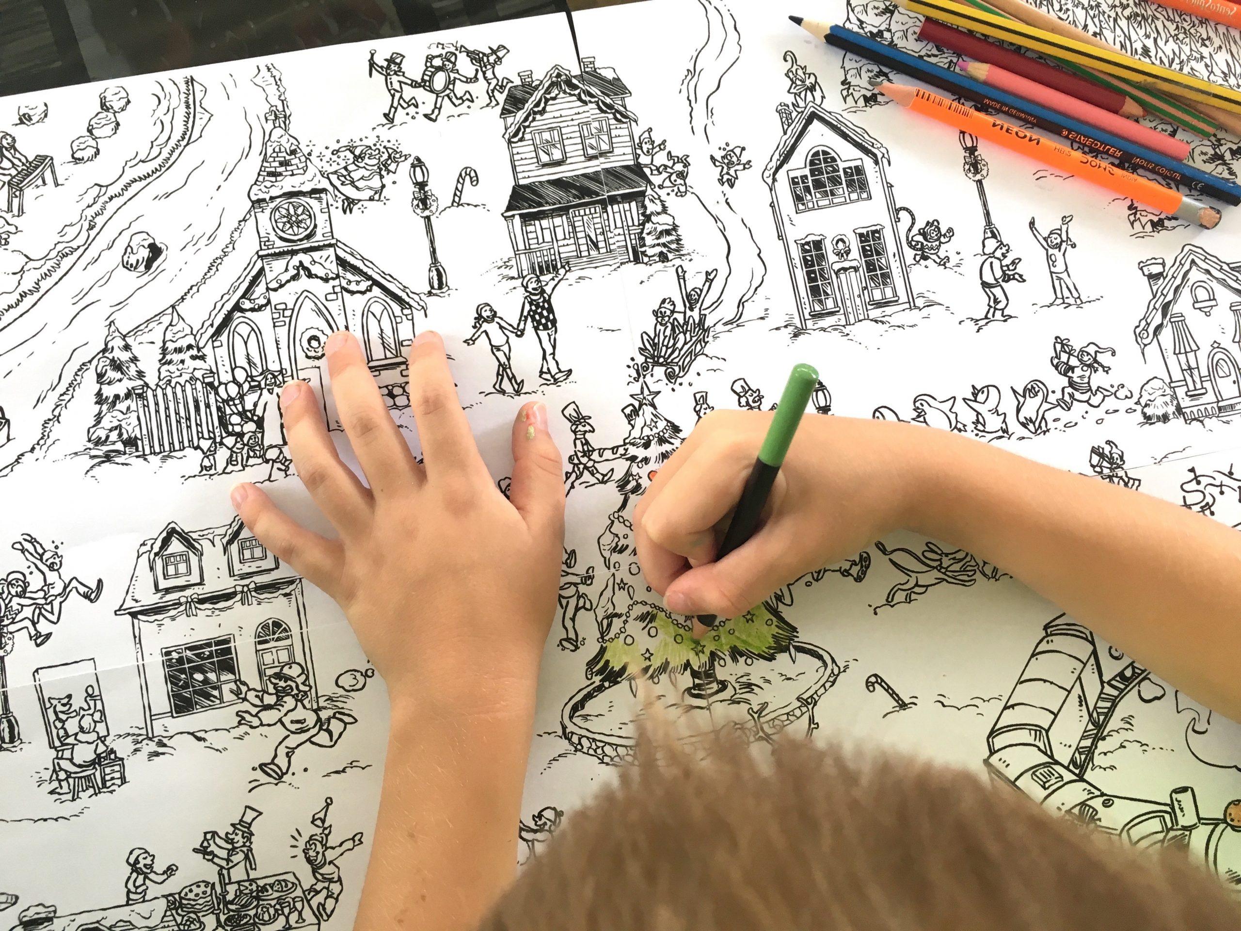 Coloriage Géant De Noël : Le Village En Hiver - Un Jour Un Jeu destiné Coloriage Village De Noel