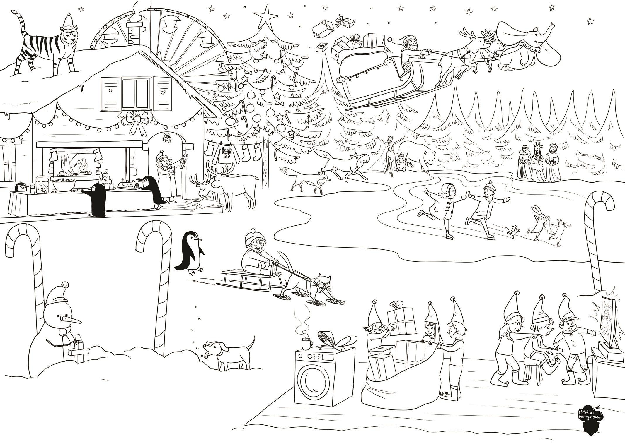 Coloriage-Gratuit-Mercredi-Enfant-Noel-Village-Lutins pour Coloriage Village De Noel