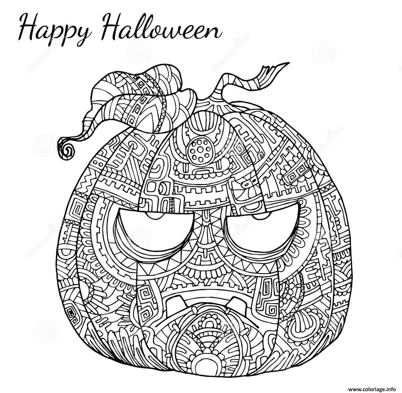 Coloriage Halloween Adulte Zen Citrouille Dessin À Imprimer serapportantà Dessin Halloween Citrouille A Imprimer Gratuit