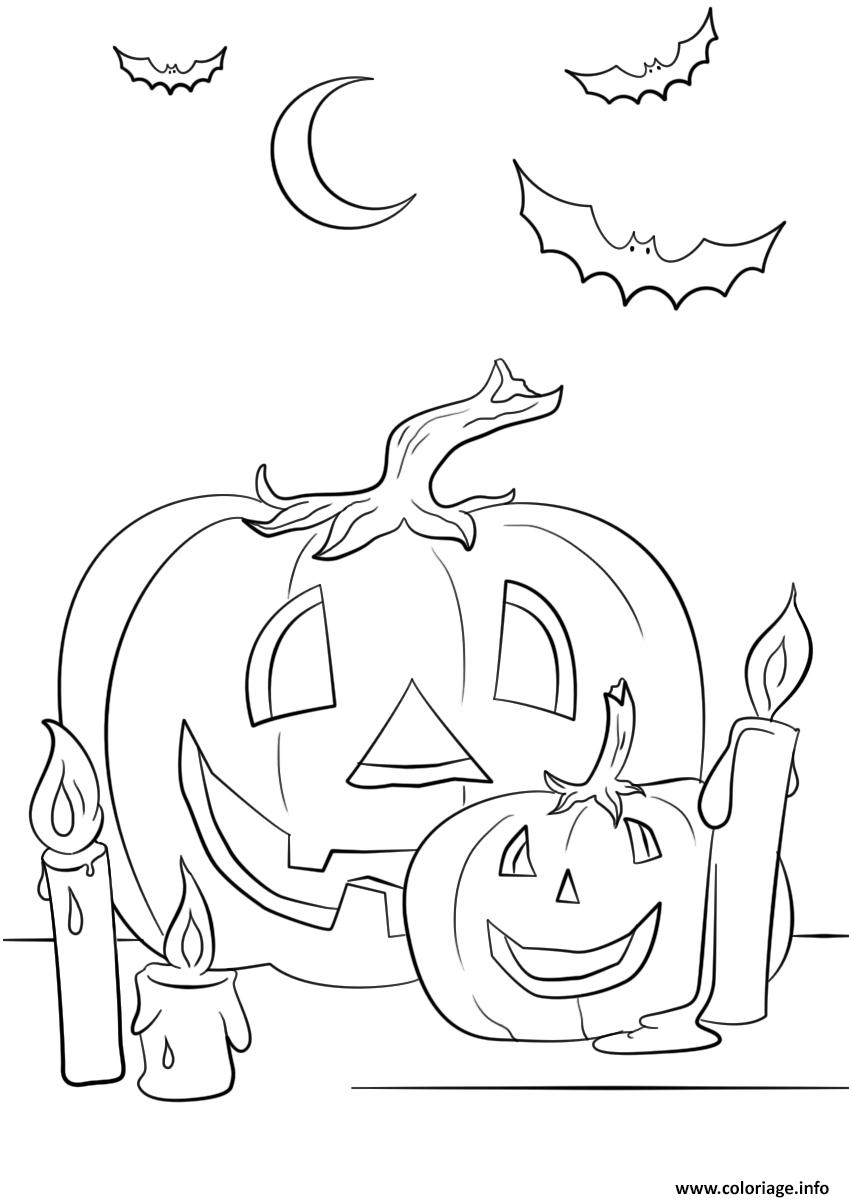 Coloriage Halloween Citrouilles Chandelle Chauve Souris Dessin avec Dessin Halloween Citrouille A Imprimer Gratuit