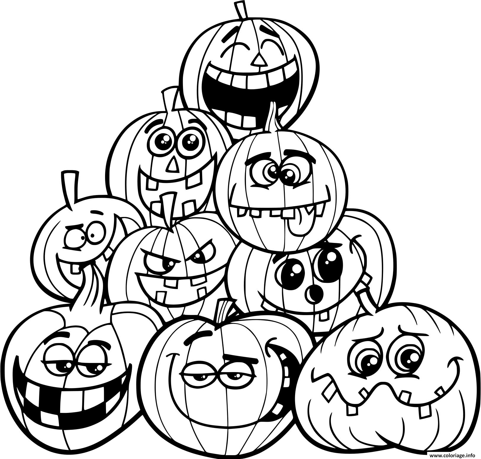 Coloriage Halloween Plusieurs Citrouilles Emotions Dessin concernant Dessin Halloween Citrouille A Imprimer Gratuit