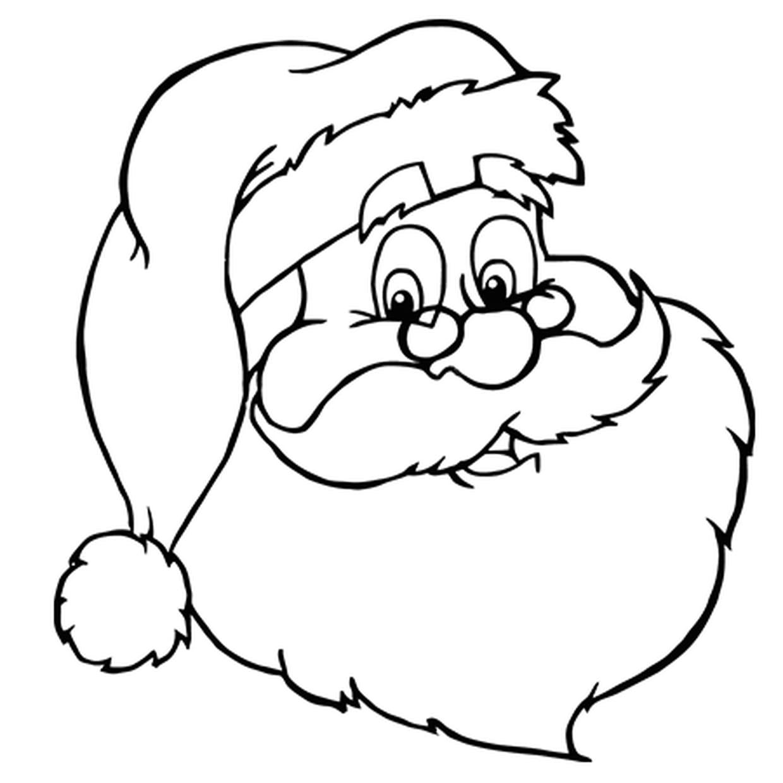 Coloriage Jolie Tête De Père Noël En Ligne Gratuit À Imprimer à Pere Noel A Decouper