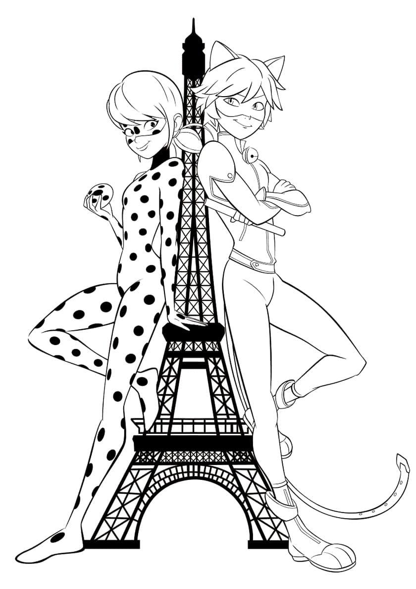 Coloriage Ladybug Et Cat Noir. Imprimer Gratuitement serapportantà Coloriage Gratuit À Imprimer Pour Fille