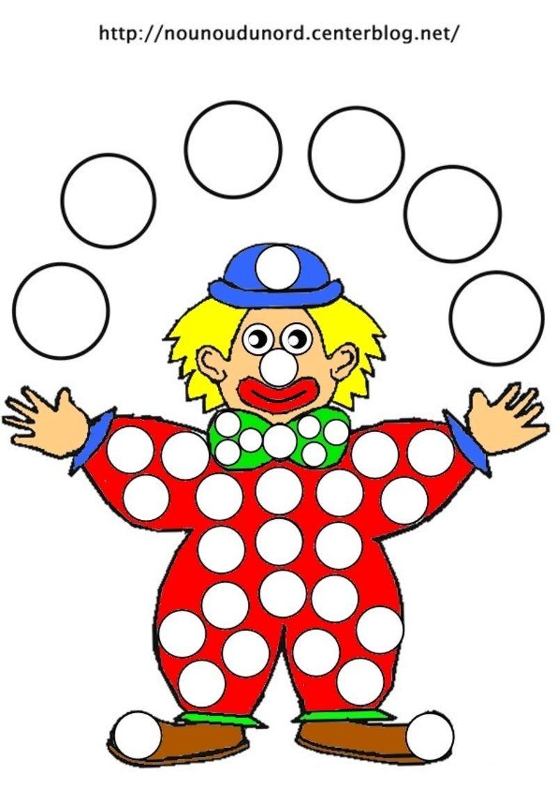Coloriage Le Clown À Gommettes Et En Couleur | Coloriage tout Coloriage Clown A Imprimer