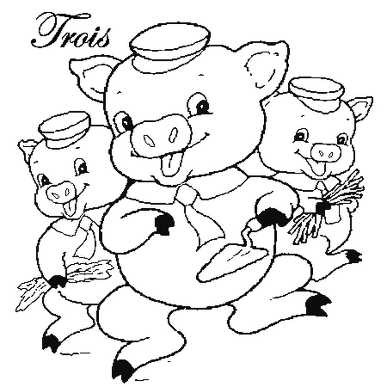 Coloriage Les 3 Petits Cochons En Ligne Gratuit À Imprimer intérieur Dessin À Colorier Cochon