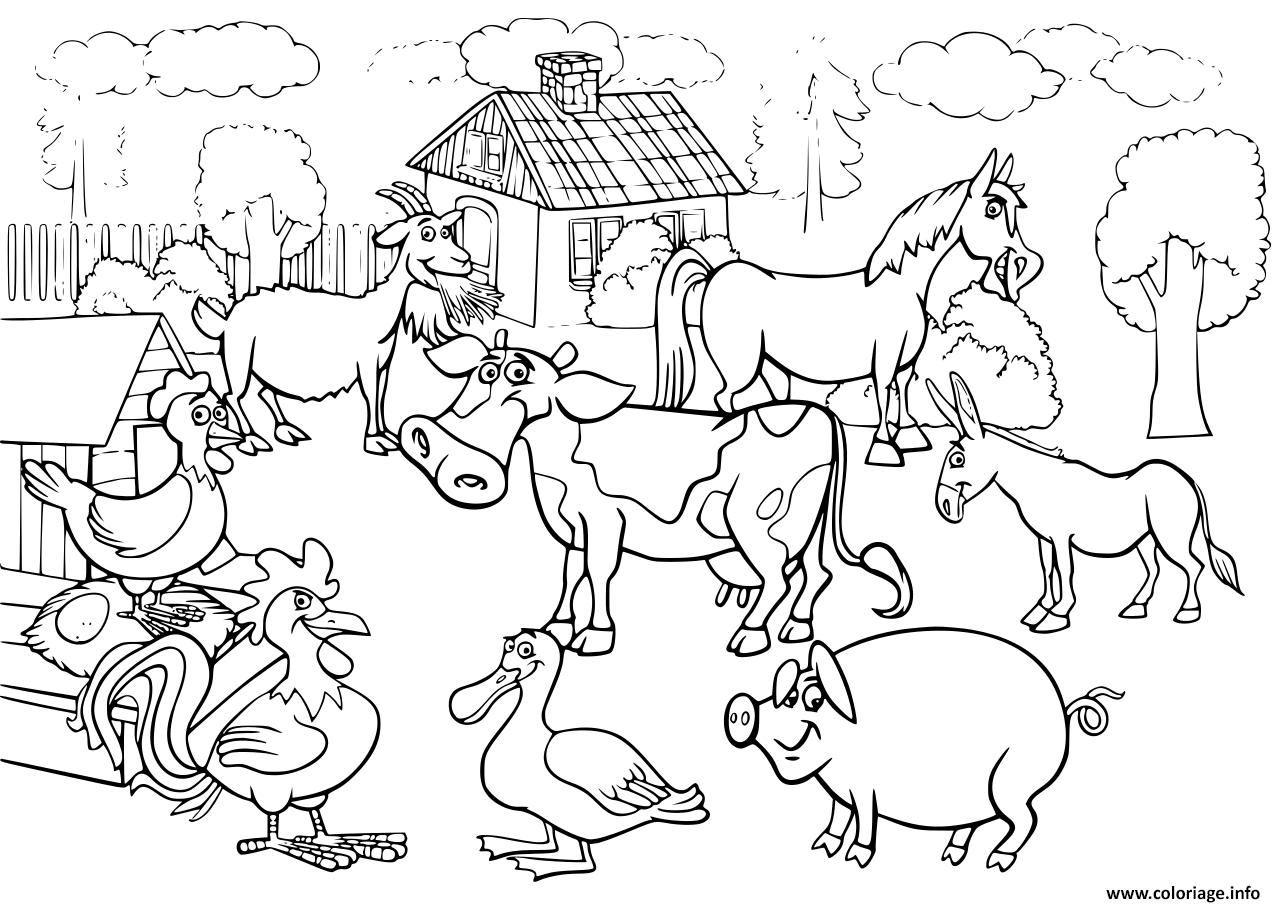 Coloriage Les Animaux De La Ferme Pour Enfants Dessin destiné Animaux De La Ferme A Imprimer