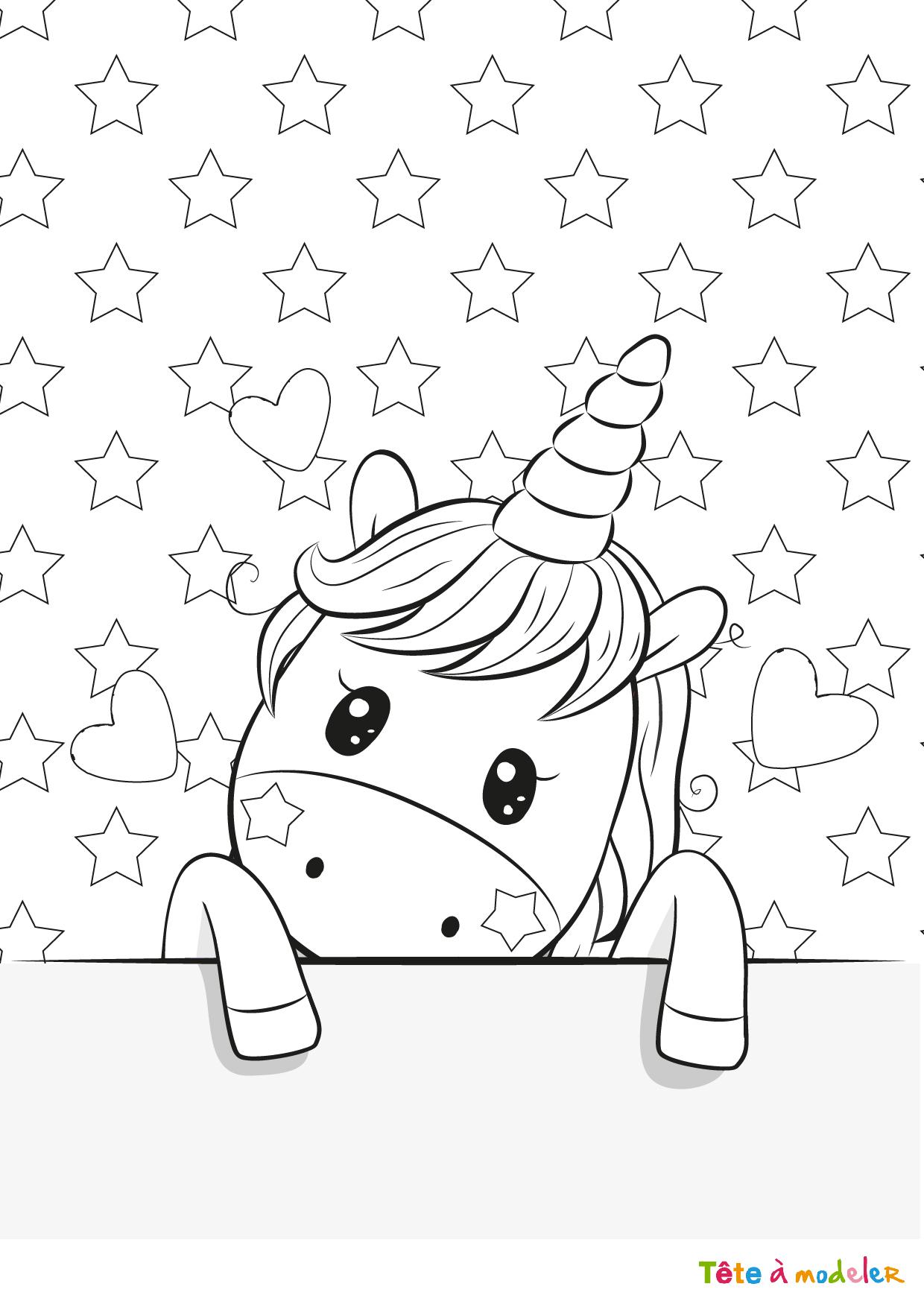 Coloriage Licorne #3 Avec Tête À Modeler pour Jeux De Coloriage Licorne