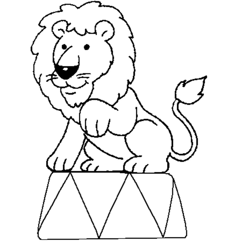 Coloriage Lion Cirque En Ligne Gratuit À Imprimer à Photo De Lion A Imprimer En Couleur
