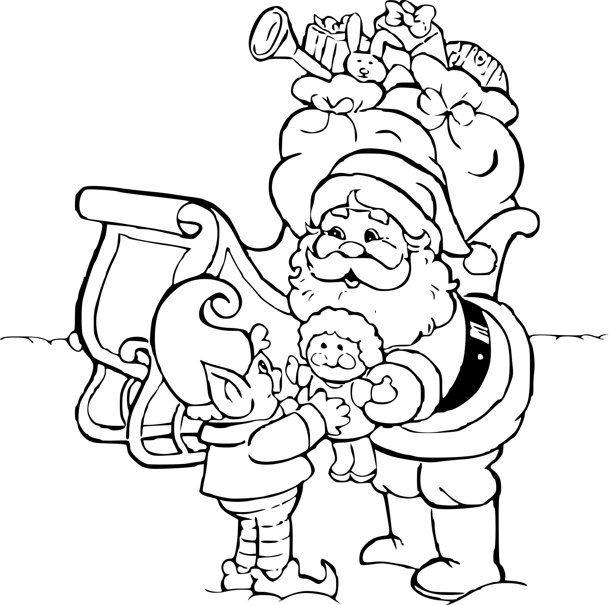 Coloriage Lutin Et Père Noël À Imprimer Sur Coloriages concernant Pere Noel À Colorier Et Imprimer
