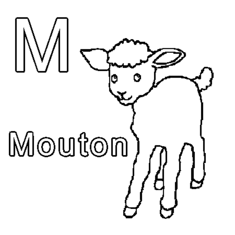Coloriage M Comme Mouton En Ligne Gratuit À Imprimer tout Mouton À Colorier
