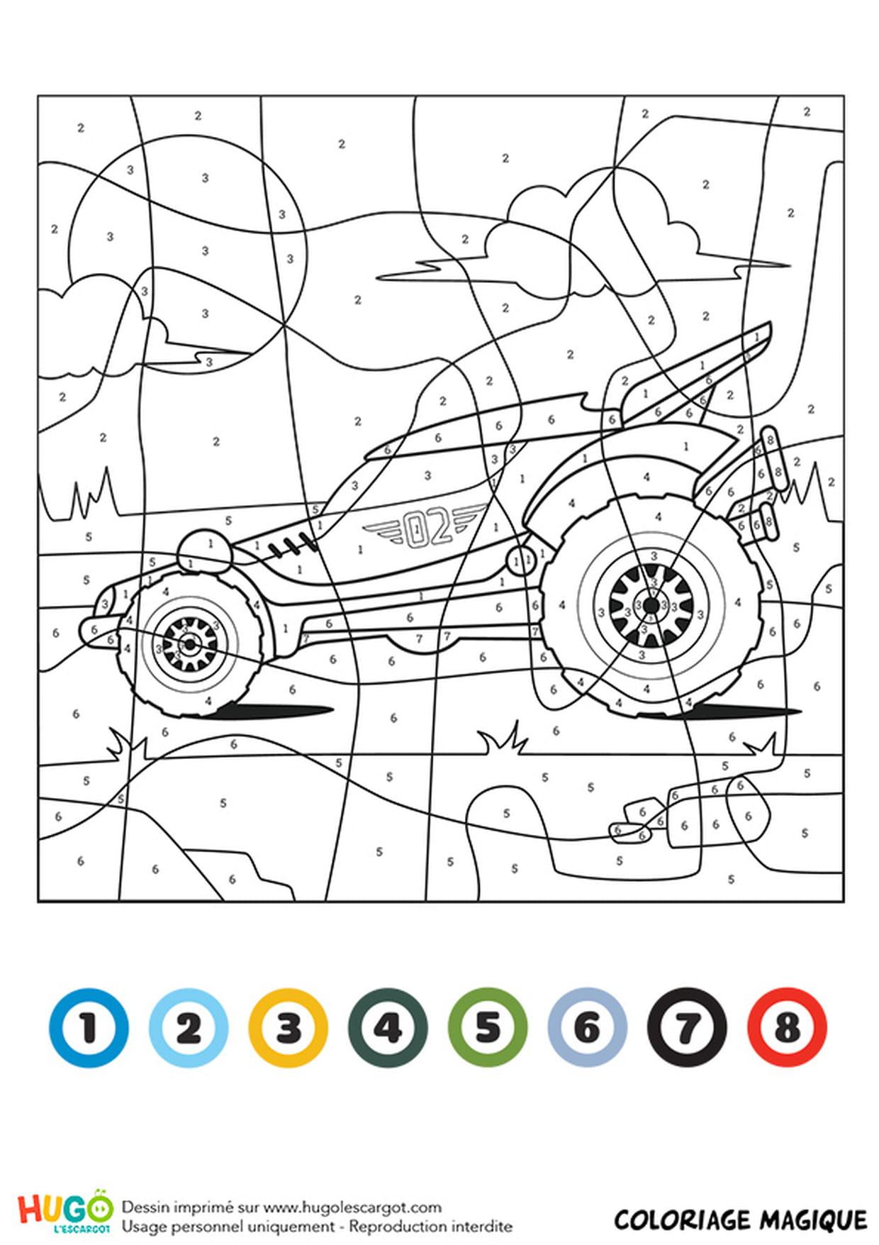 Coloriage Magique Ce1 : Un Buggy avec Coloriage Vehicule
