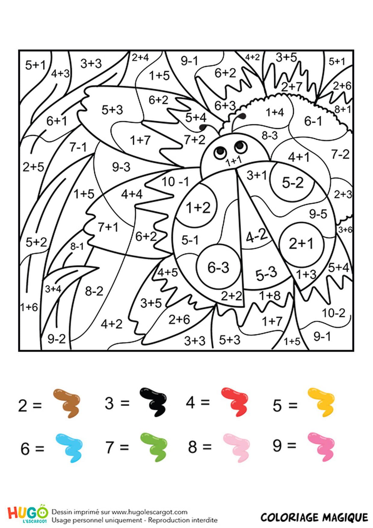 Coloriage Magique Ce1 : Une Coccinelle dedans Coloriage Magique Ce2 Soustraction