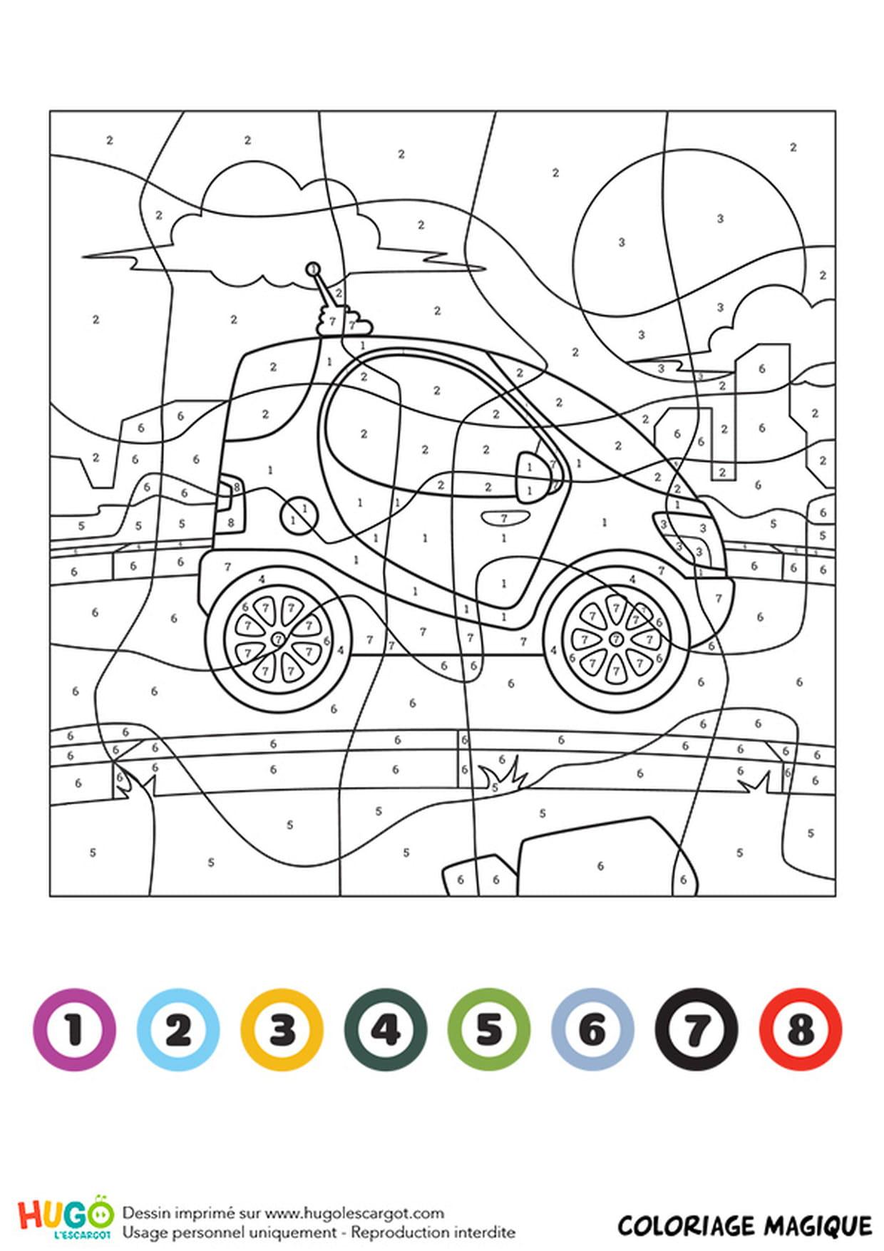 Coloriage Magique Ce1 : Une Mini Voiture dedans Coloriage Vehicule