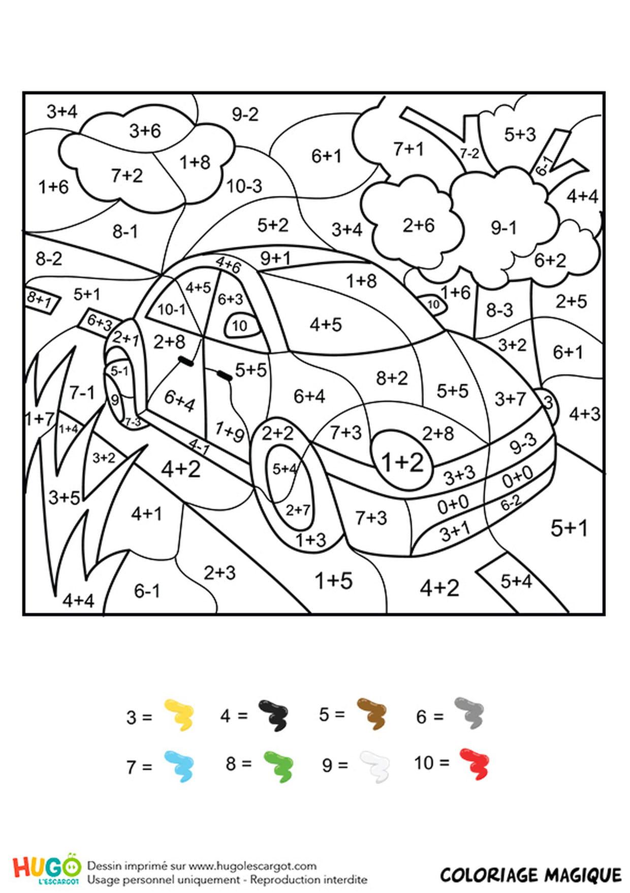 Coloriage Magique Ce1 : Une Voiture Rouge pour Coloriage Vehicule
