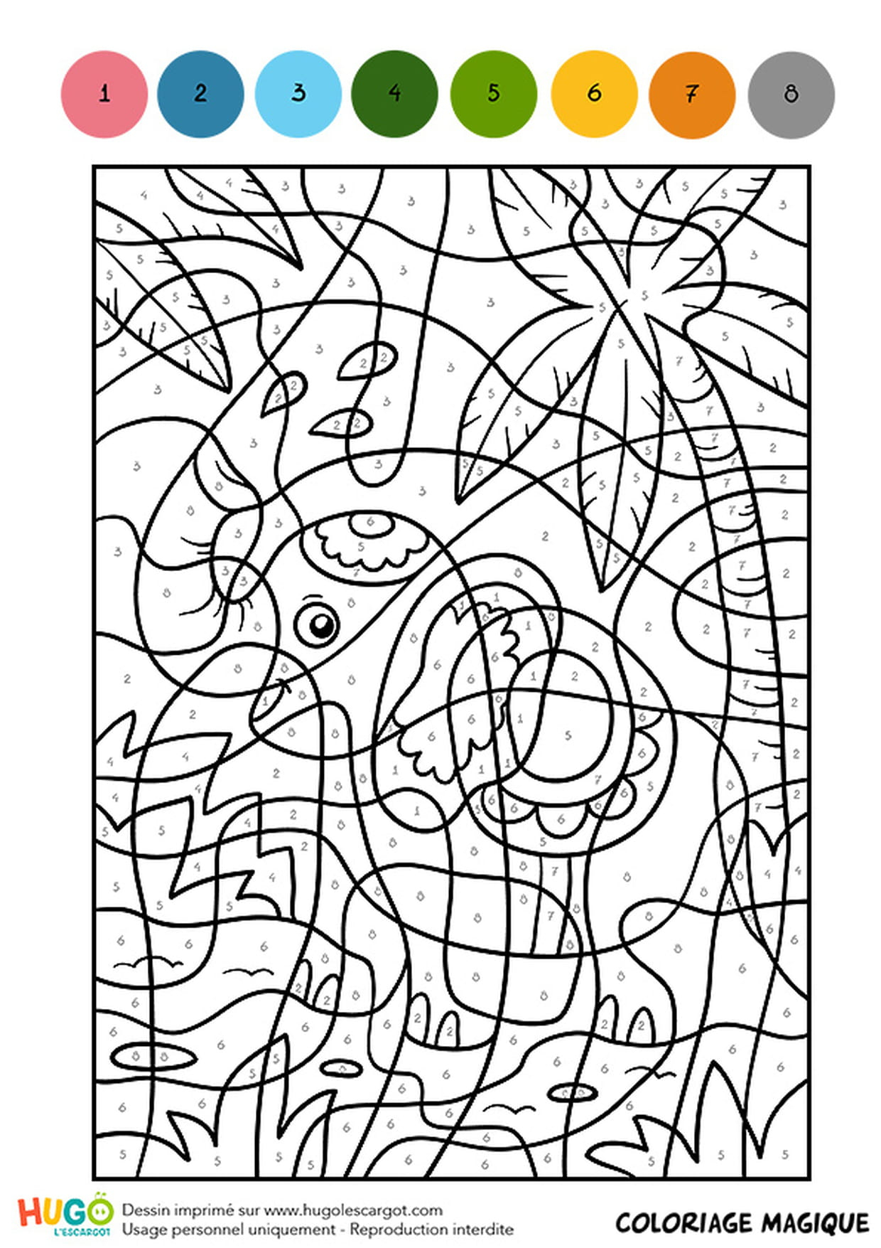 Coloriage Magique Cm1, Un Éléphant Indien destiné Jeux De Coloriage Magique Cm1