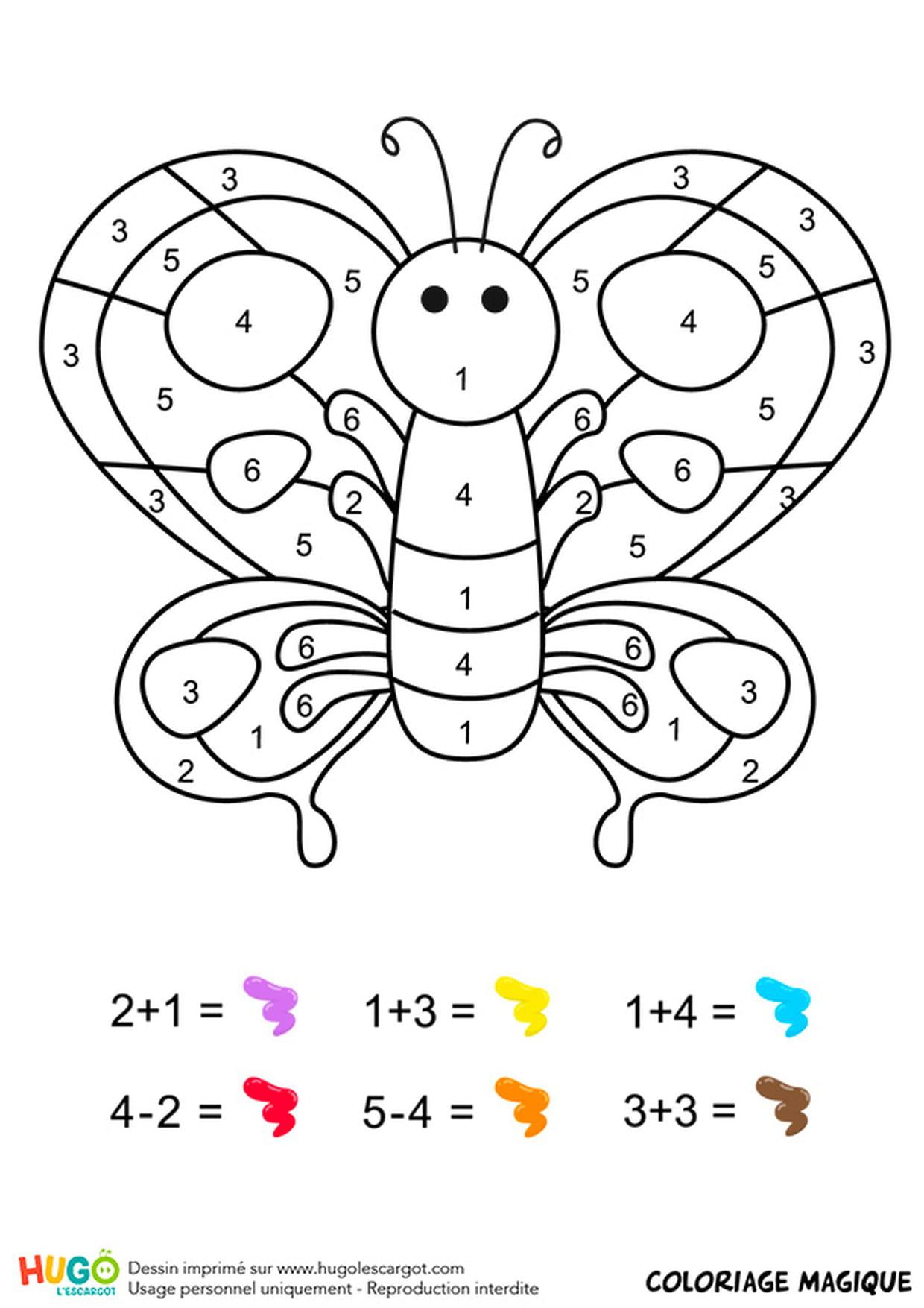 Coloriage Magique Cp : Un Papillon Multicolore intérieur Coloriage Magique Cp Calcul