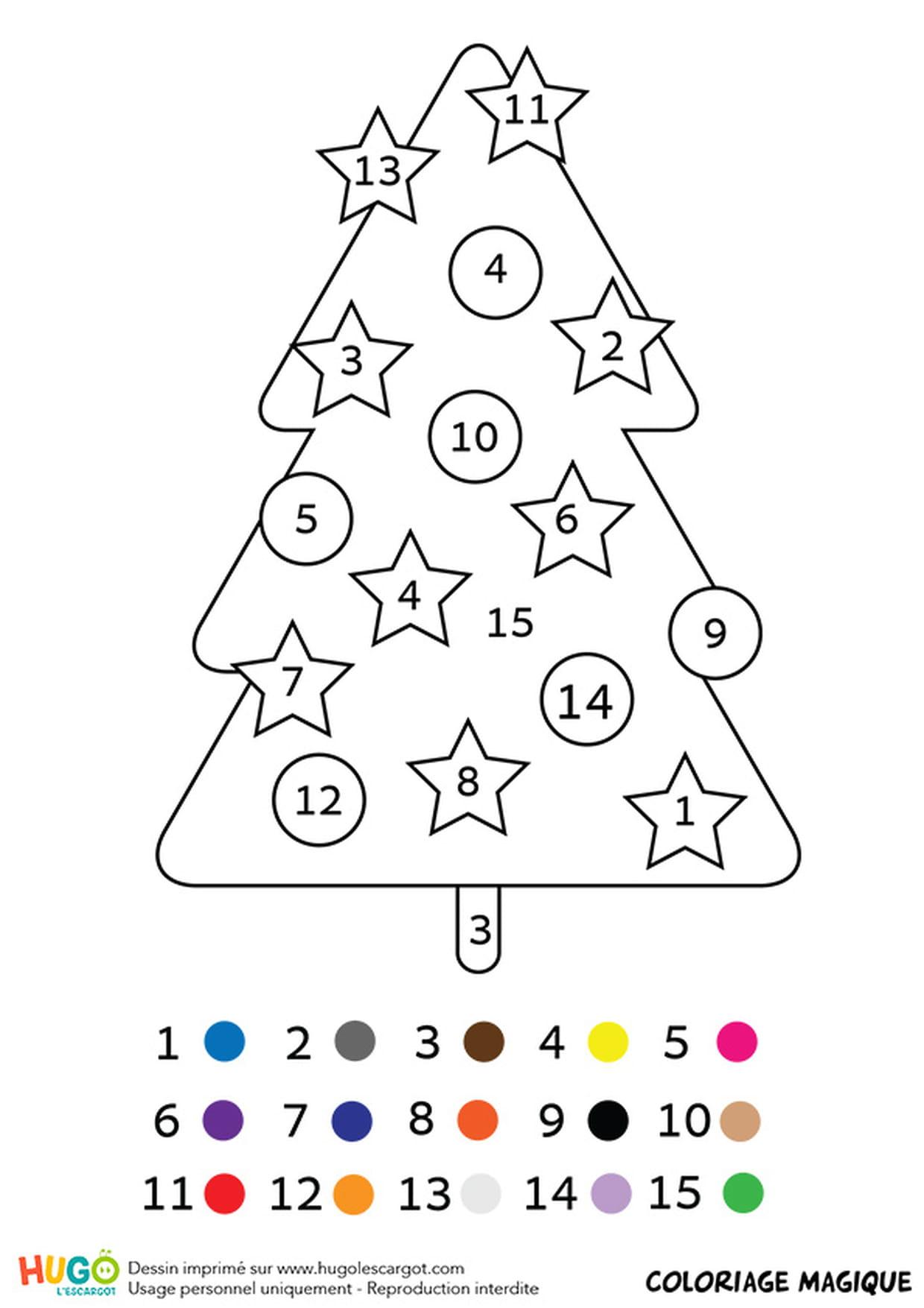 Coloriage Magique Cp : Un Sapin De Noël pour Coloriage Codé Noel