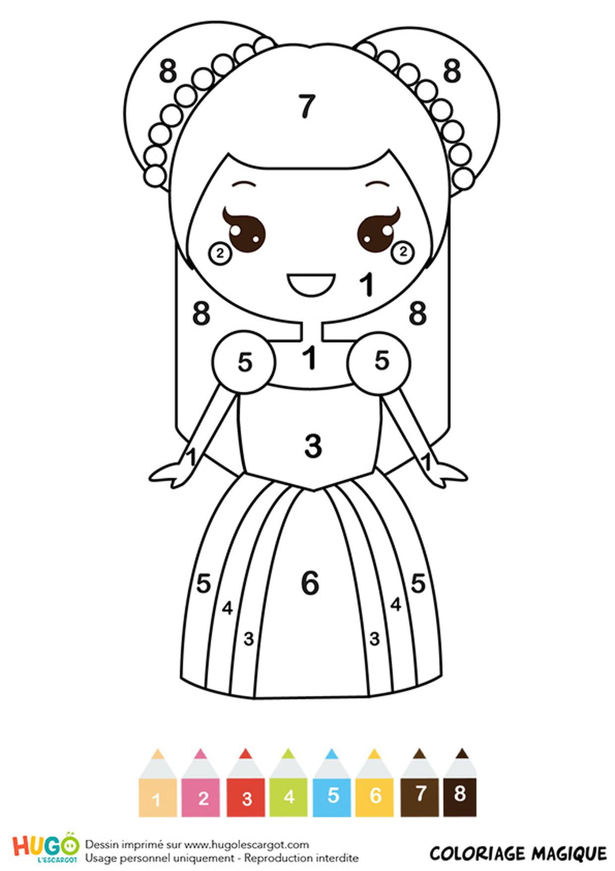 Coloriage Magique Cp : Une Belle Princesse avec Coloriage Magique Pour Enfant