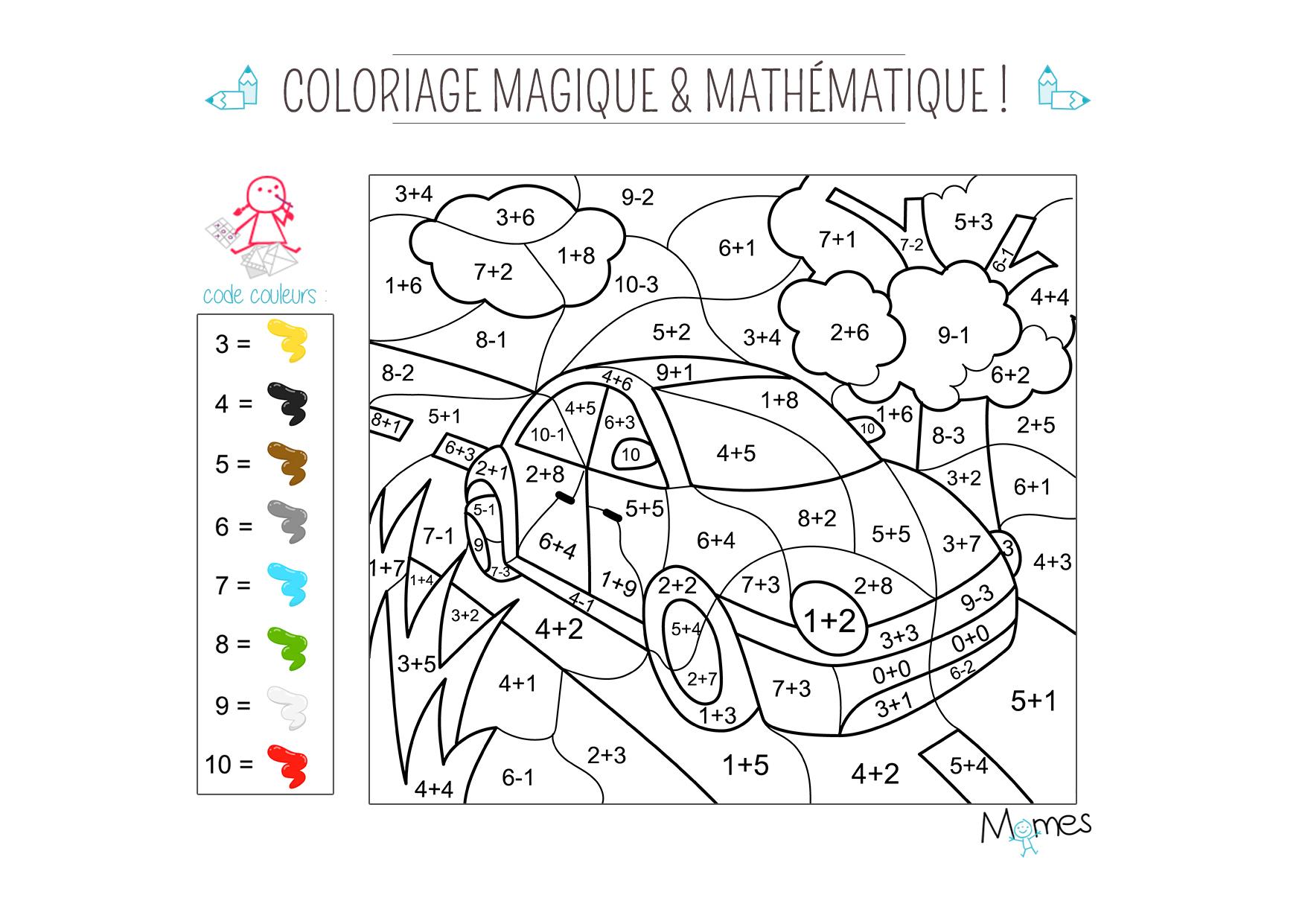 Coloriage Magique Et Mathématique : La Voiture - Momes à Coloriage Magique Pour Enfant