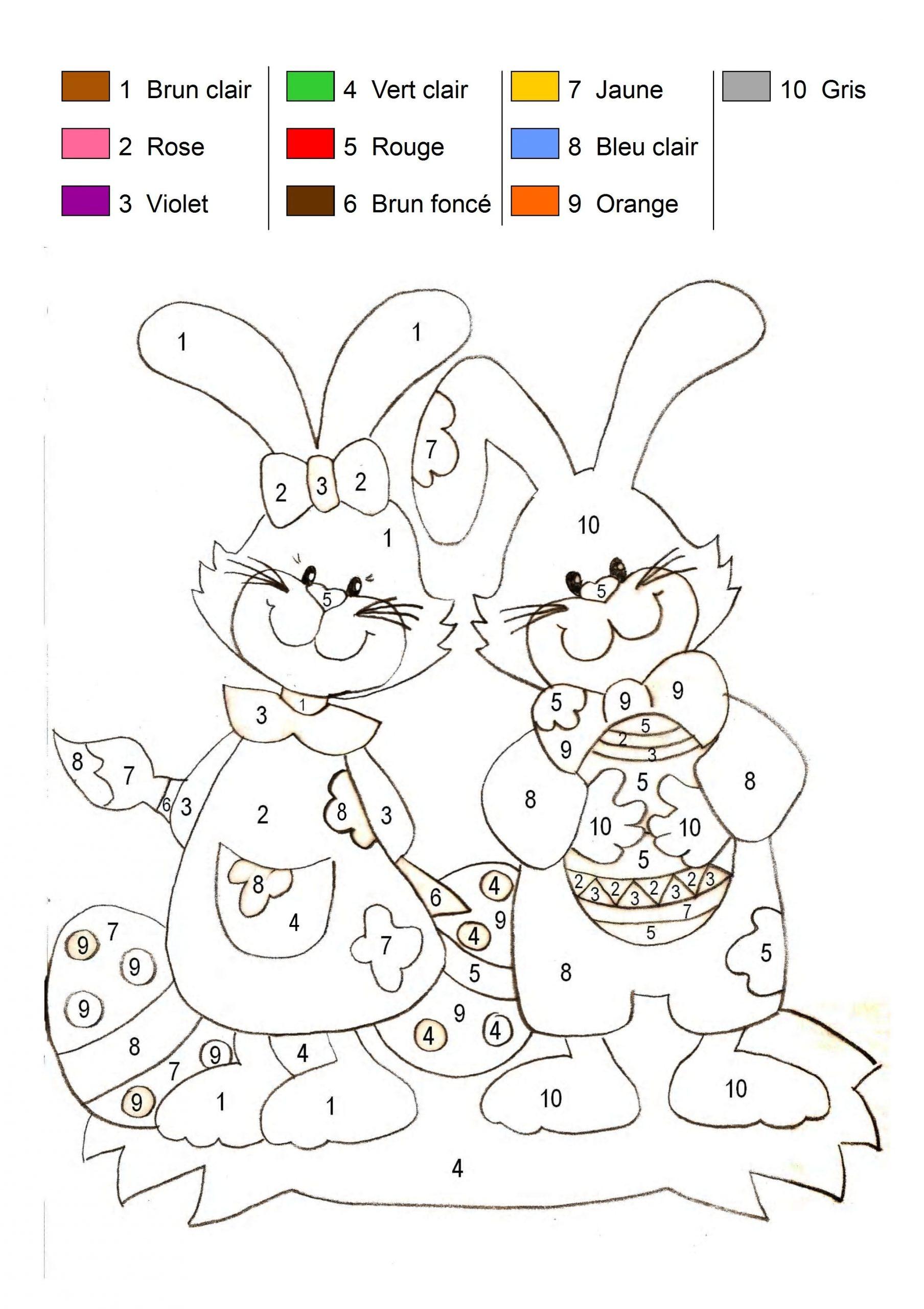 Coloriage Magique - Les Lapins De Pâques intérieur Coloriage Magique Ms À Imprimer