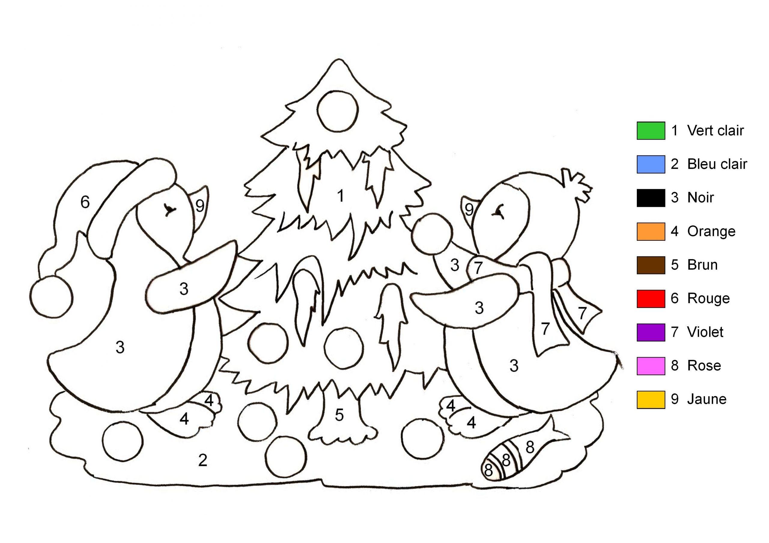 Coloriage Magique - Pingouins Et Sapin De Noël tout Coloriage Codé Noel