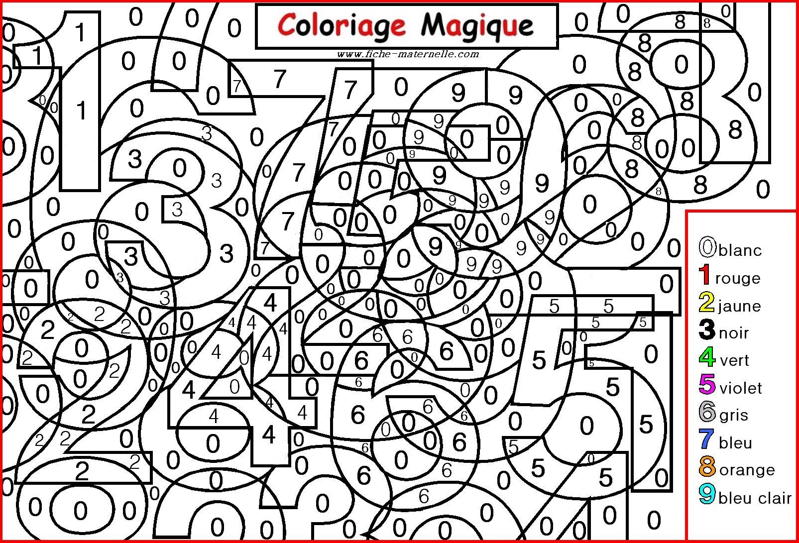 Coloriage Magique Pour Les Plus Petits : Les Chiffres avec Coloriage Magique Maternelle Grande Section