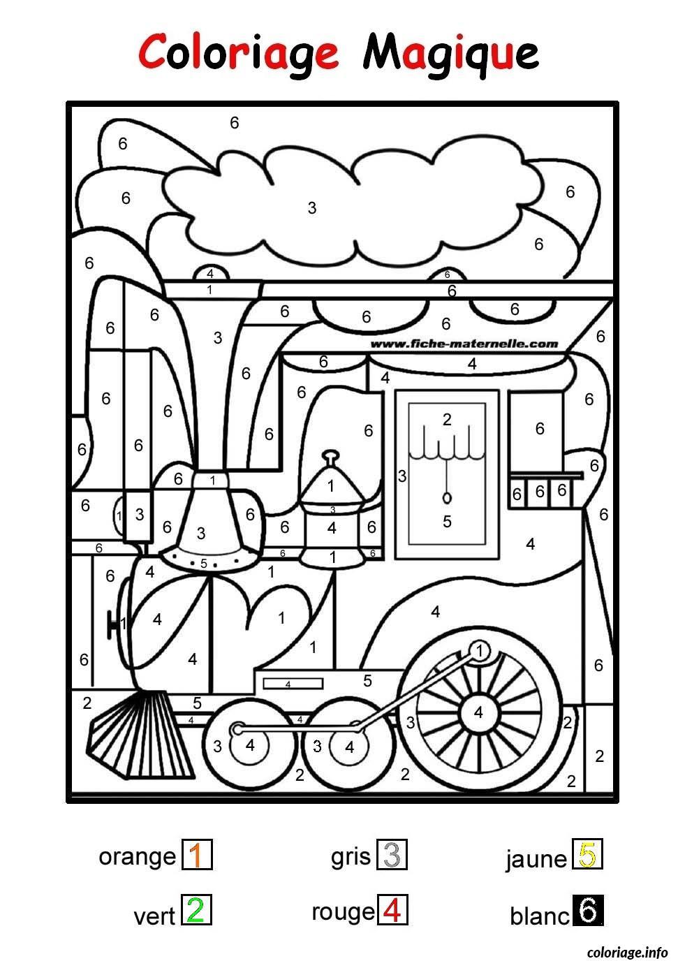 Coloriage Magique Train Facile Maternelle Dessin encequiconcerne Coloriage Numéroté Maternelle