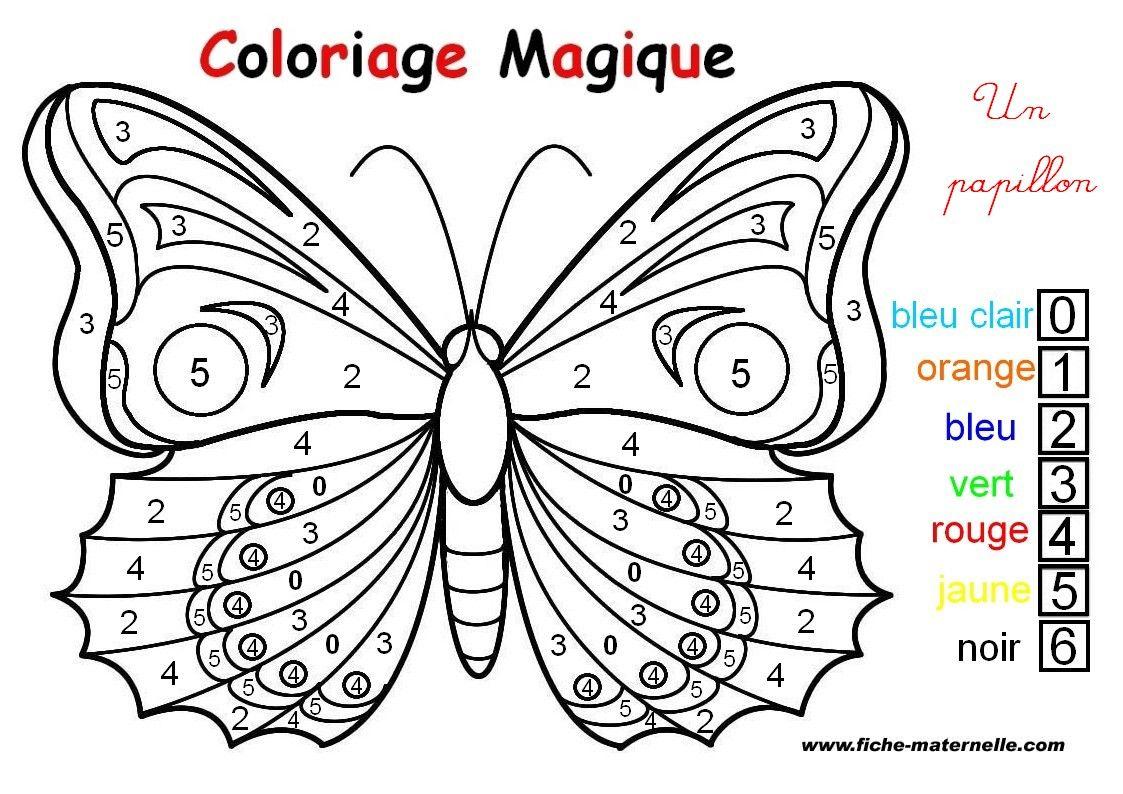 Coloriage Magique : Un Papillon | Coloriage Papillon avec Jeux Papillon Gratuits Ligne