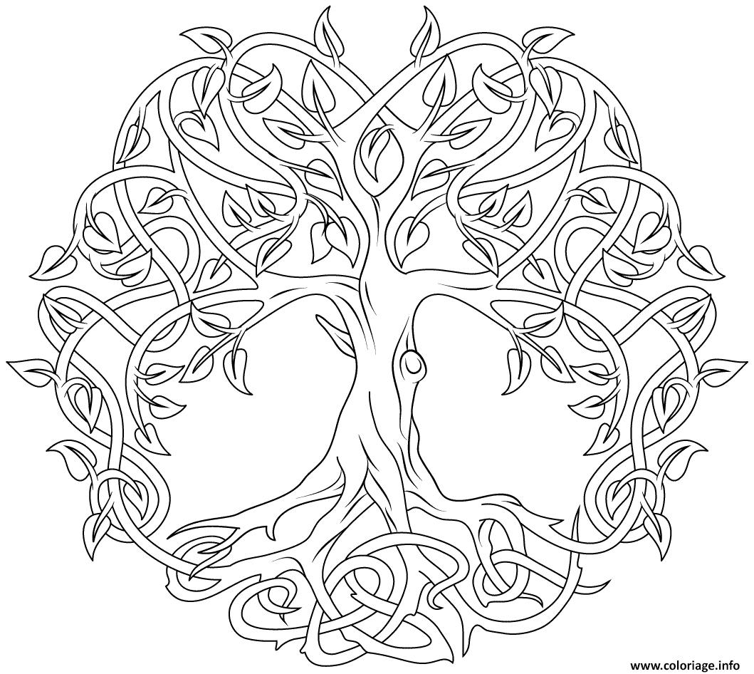 Coloriage Mandala Arbre De La Vie Par Artsashina Dessin avec Arbre A Colorier Et A Imprimer