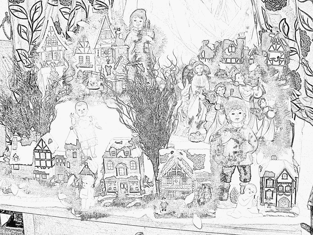 Coloriage Mon Village De Noel 08 À Imprimer Pour Les Enfants destiné Coloriage Village De Noel