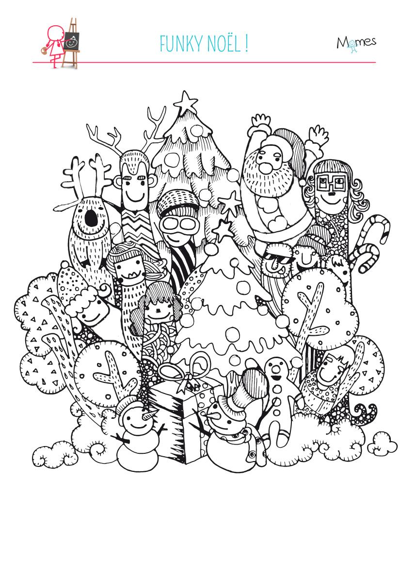 Coloriage Noël Funky - Momes pour Coloriage Graphique