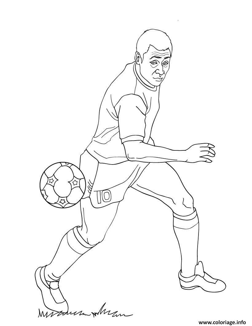 Coloriage Pele Joueur De Football Dessin avec Coloriage De Foot En Ligne