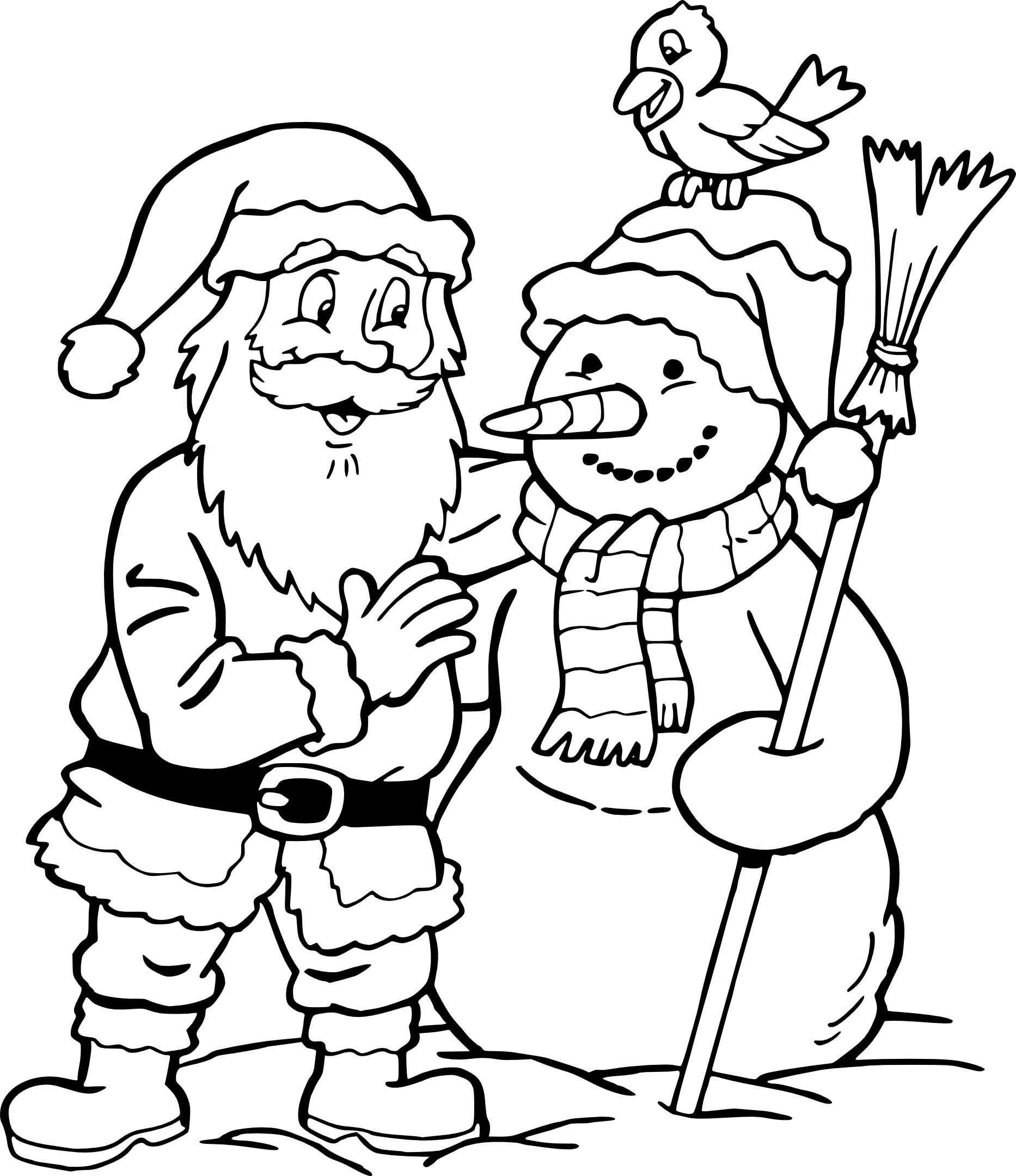 Coloriage Père Noël Et Bonhomme De Neige À Imprimer serapportantà Pere Noel À Colorier Et Imprimer
